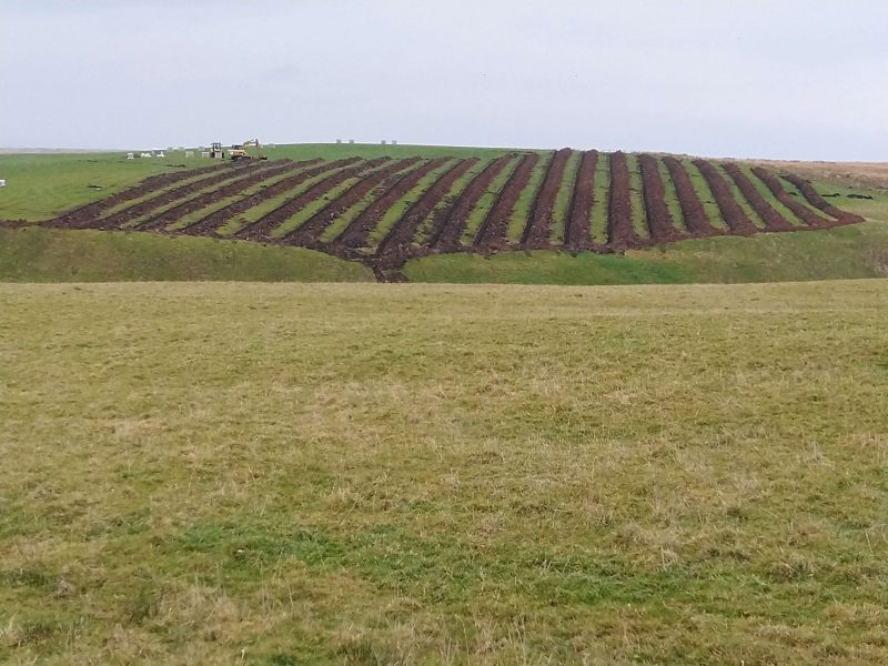 Draining trenches on a hill ready for clay pipes